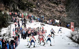 Wintersport, 19.12.2015, Ramsau, Austria (AUT): a group of athletes in the uphill  - FIS world cup nordic combined, individual gundersen HS96/10km, Ramsau (AUT). www.nordicfocus.com. © Felgenhauer/NordicFocus. Every downloaded picture is fee-liable.