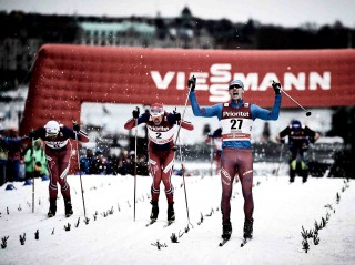 Wintersport, 11.02.2016, Stockholm, Sweden (SWE):Petter Northug (NOR), Ola Vigen Hattestad (NOR), Nikita Kriukov (RUS), (l-r)  - FIS world cup cross-country, individual sprint, Stockholm (SWE). www.nordicfocus.com. © Felgenhauer/NordicFocus. Every downloaded picture is fee-liable.