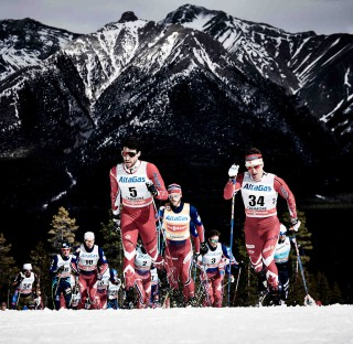 Wintersport, 09.03.2016, Canmore, Canada (CAN):Alex Harvey (CAN), Martin Johnsrud Sundby (NOR), Ivan Babikov (CAN), (l-r)  - FIS world cup cross-country, skiathlon men, Canmore (CAN). www.nordicfocus.com. © Felgenhauer/NordicFocus. Every downloaded picture is fee-liable.