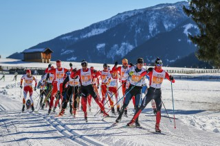 Dolomitenlauf Skating 2016, 24.01.2016, Lienz, Austria (AUT): The leading group in Dolomitenlauf with Martinelli Alan at the lead  - FIS Marathon Cup Dolomitenlauf, Lienz (AUT). www.nordicfocus.com. © Russolo/NordicFocus. Every downloaded picture is fee-liable.