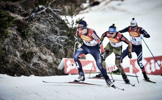 Wintersport, 19.12.2015, Ramsau, Austria (AUT):Magnus Krog (NOR), Tino Edelmann (GER), Samuel Costa (ITA), (l-r)  - FIS world cup nordic combined, individual gundersen HS96/10km, Ramsau (AUT). www.nordicfocus.com. © Felgenhauer/NordicFocus. Every downloaded picture is fee-liable.