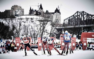 Wintersport, 01.03.2016, Gatineau, Canada (CAN):Federico Pellegrino (ITA), Emil Iversen (NOR), Finn Haagen Krogh (NOR), Sergey Ustiugov (RUS), (l-r)  - FIS world cup cross-country, individual sprint, Gatineau (CAN). www.nordicfocus.com. © Felgenhauer/NordicFocus. Every downloaded picture is fee-liable.