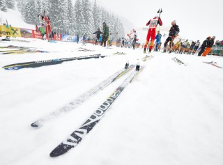 Skitrail Tannheimer Tal Bad Hindelang 2015, 25.01.2015, Tannheimer Tal, Austria (AUT): Salomon skis ready to race