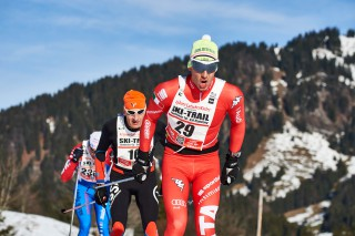Ski Trail 2016, 30.01.2016, Tannheimer Tal, Austria (AUT) - Bad Hindelang, Germany (GER): Peter Milz (GER), Stefano Ciprian (ITA), (l-r)  - Skitrail Tannheimertal, Bad Hindelang (GER). www.nordicfocus.com. © Felgenhauer/NordicFocus. Every downloaded picture is fee-liable.