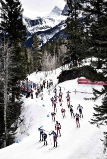 Wintersport, 09.03.2016, Canmore, Canada (CAN): athletes passing coaches in beautiful scenery  - FIS world cup cross-country, skiathlon men, Canmore (CAN). www.nordicfocus.com. © Felgenhauer/NordicFocus. Every downloaded picture is fee-liable.