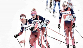 Wintersport, 09.01.2016, Val di Fiemme, Italy (ITA):Heidi Weng (NOR), Therese Johaug (NOR), Ingvild Flugstad Oestberg (NOR), (l-r)  - FIS world cup cross-country, tour de ski, mass women, Val di Fiemme (ITA). www.nordicfocus.com. © Felgenhauer/NordicFocus. Every downloaded picture is fee-liable.