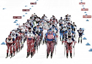 Wintersport, 09.03.2016, Canmore, Canada (CAN): the men's start  - FIS world cup cross-country, skiathlon men, Canmore (CAN). www.nordicfocus.com. © Felgenhauer/NordicFocus. Every downloaded picture is fee-liable.