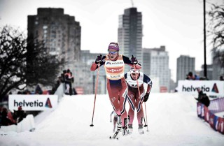 Wintersport, 02.03.2016, Montreal, Canada (CAN):Therese Johaug (NOR), Astrid Uhrenholdt Jacobsen (NOR), (l-r)  - FIS world cup cross-country, mass women, Montreal (CAN). www.nordicfocus.com. © Felgenhauer/NordicFocus. Every downloaded picture is fee-liable.