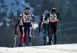 Ski Trail 2016, 30.01.2016, Tannheimer Tal, Austria (AUT) - Bad Hindelang, Germany (GER): Jessica Mueller (GER), Christoph Gasche (SUI), (l-r)  - Skitrail Tannheimertal, Bad Hindelang (GER). www.nordicfocus.com. © Felgenhauer/NordicFocus. Every downloaded picture is fee-liable.