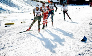 Wintersport, 12.12.2015, Davos, Switzerland (SUI):Jonas Dobler (GER), Alex Harvey (CAN), Alexey Poltoranin (KAZ), (l-r)  - FIS world cup cross-country, 30km men, Davos (SUI). www.nordicfocus.com. © Felgenhauer/NordicFocus. Every downloaded picture is fee-liable.