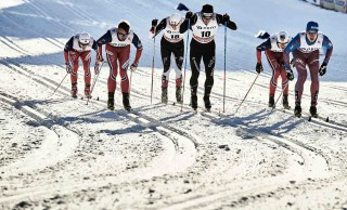 Wintersport, 03.02.2016, Drammen, Norway (NOR):Petter Northug (NOR), Timo Andre Bakken (NOR), Jovian Hediger (SUI), Gleb Retivykh (RUS), (l-r)  - FIS world cup cross-country, individual sprint, Drammen (NOR). www.nordicfocus.com. © Felgenhauer/NordicFocus. Every downloaded picture is fee-liable.