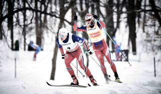 Wintersport, 02.03.2016, Montreal, Canada (CAN):Finn Haagen Krogh (NOR), Martin Johnsrud Sundby (NOR), (l-r)  - FIS world cup cross-country, mass men, Montreal (CAN). www.nordicfocus.com. © Felgenhauer/NordicFocus. Every downloaded picture is fee-liable.