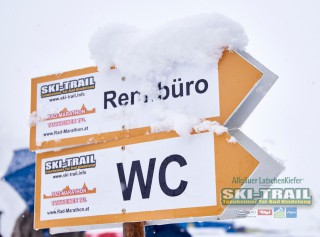 Ski Trail 2016, 31.01.2016, Tannheimer Tal, Austria (AUT) - Bad Hindelang, Germany (GER): signs to race office  - Skitrail Tannheimertal, Bad Hindelang (GER). www.nordicfocus.com. © Felgenhauer/NordicFocus. Every downloaded picture is fee-liable.