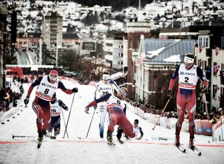 Wintersport, 03.02.2016, Drammen, Norway (NOR):Ola Vigen Hattestad (NOR), Petter Northug (NOR), Eirik Brandsdal (NOR), (l-r)  - FIS world cup cross-country, individual sprint, Drammen (NOR). www.nordicfocus.com. © Felgenhauer/NordicFocus. Every downloaded picture is fee-liable.