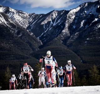Wintersport, 09.03.2016, Canmore, Canada (CAN):Justyna Kowalczyk (POL), Ingvild Flugstad Oestberg (NOR), Kerttu Niskanen (FIN), Astrid Uhrenholdt Jacobsen (NOR), (l-r)  - FIS world cup cross-country, skiathlon women, Canmore (CAN). www.nordicfocus.com. © Felgenhauer/NordicFocus. Every downloaded picture is fee-liable.